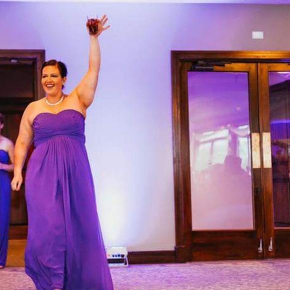 Plus size bridesmaid floor length purple dress
